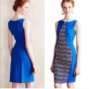 Eva Franco blue tile graphic body con formal dress